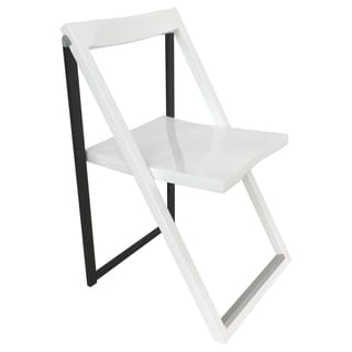 High Contrast Glossy Steel Folding Chair (Set of 2)