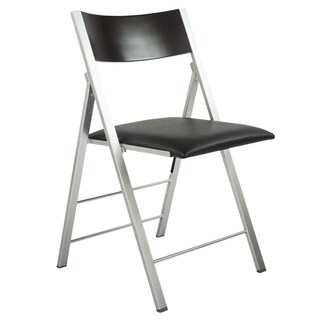 Black/Silver Wood/Steel Modern Folding Chair with Cushion (Set of 2)
