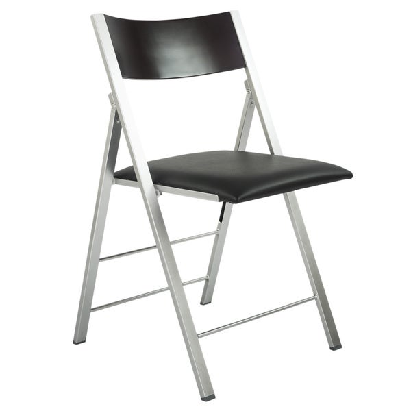 Exceptionnel Black/Silver Wood/Steel Modern Folding Chair With Cushion (Set Of 2)