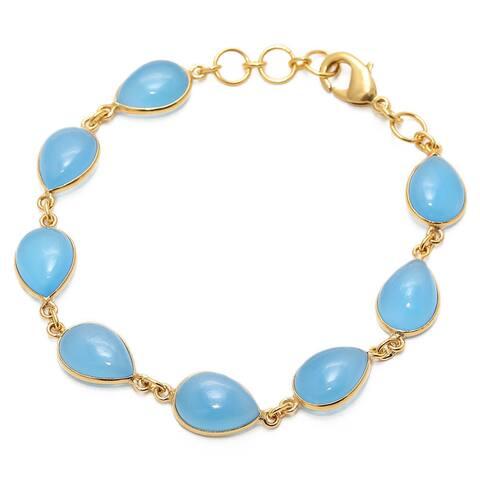 Handmade Gold Overlay Chalcedony Bracelet (India) - Baby Blue