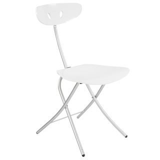 Robo High-gloss White Steel/Wood Folding Chair (Set of 2)