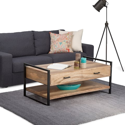 WYNDENHALL Lawson Solid Mango Wood and Metal 47 inch Wide Rectangle Modern Industrial Coffee Table in Natural