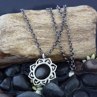 Handmade White Lotus Pendant Necklace by Spirit Tribal Fusion (Bali)