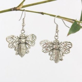 Handmade Bee Yourself Bumble Bee Dangle Earrings by Spirit Tribal Fusion (Indonesia) - Silver
