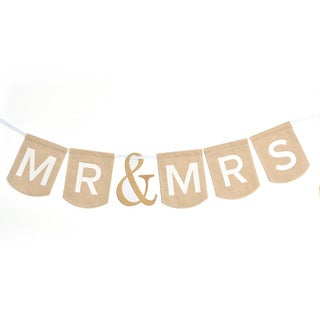 Mr. & Mrs. White Fabric Wedding Banner
