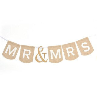 Mr. & Mrs. White Fabric Wedding Banner