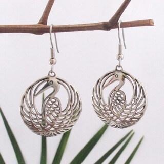Handmade Blue Heron Dangle Earrings by Spirit Tribal Fusion (Indonesia)