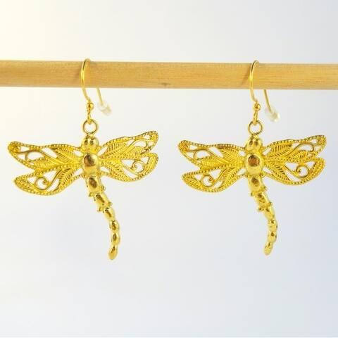 Handmade Brass Dragonfly Earrings by Spirit (Indonesia)