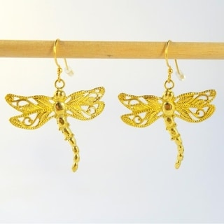 Dancing Dragonfly Dangle Earrings by Spirit Tribal Fusion (Bali)