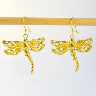 Handmade Dancing Dragonfly Dangle Earrings by Spirit Tribal Fusion (Bali)