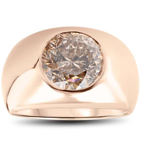 14K Yellow Gold 5.01 ct Mens Diamond Heavy Weight High Polished Fancy Champagne Ring (Champagne, I2-I3)