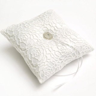 Mod White Fabric and Lace Ring Bearer Pillow