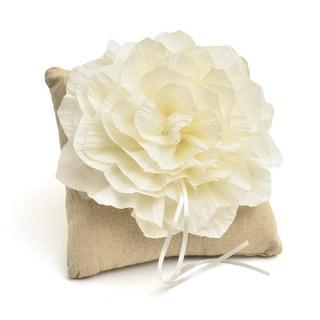 Tan Rustic Ring Bearer Pillow