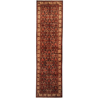 Herat Oriental Persian Hand-knotted Tribal Hamadan Wool Runner (3'8 x 13'4)