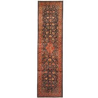 Herat Oriental Persian Hand-knotted Tribal Hamadan Wool Runner (3'8 x 14'2)