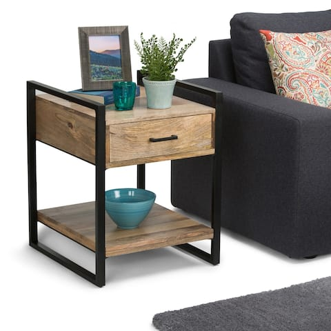 WYNDENHALL Lawson SOLID MANGO WOOD and Metal 20 inch Wide Rectangle Modern Industrial End Side Table in Natural