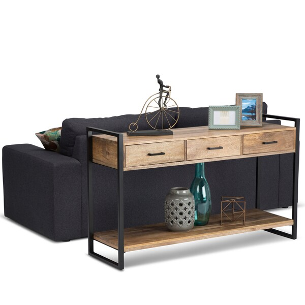 shop wyndenhall lawson natural mango wood console sofa table on sale free shipping today. Black Bedroom Furniture Sets. Home Design Ideas