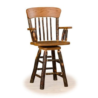 Rustic 24 Inch Panel Back Swivel Counter Stool with arms - Hickory & Oak or All Hickory