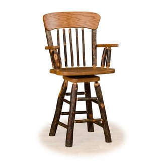 Rustic 30 Inch Panel Back Swivel Counter Stool with arms - Hickory & Oak or All Hickory
