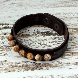 Men's Handcrafted Leather 'Rock Party' Jasper Bracelet (Thailand)