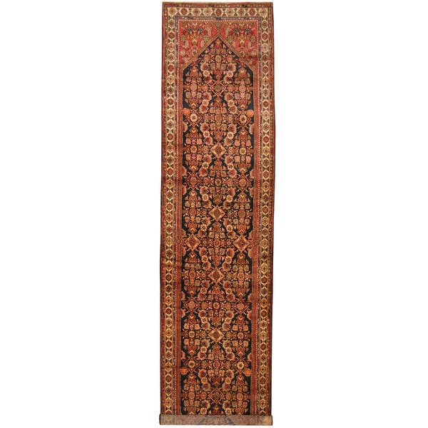 Herat Oriental Antique 1930's Persian Hand-knotted Tribal Hamadan Wool Runner (3'7 x 15'8)