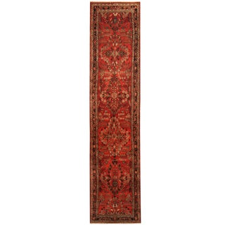 Herat Oriental Persian Hand-knotted Tribal Hamadan Wool Runner (3'4 x 14'5)