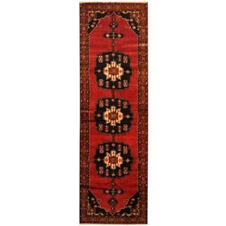 Herat Oriental Persian Hand-knotted Tribal Hamadan Wool Runner (3'10 x 13')