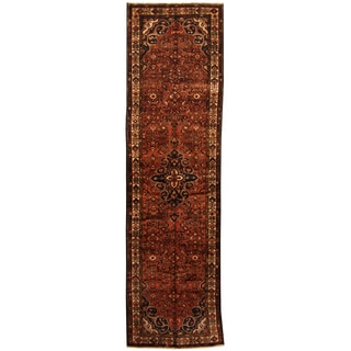 Herat Oriental Persian Hand-knotted Tribal Hamadan Wool Runner (3'6 x 12'8)
