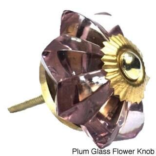 Handmade Bazaar Cabinet Knobs (Option: Plum Glass Flower Knob)