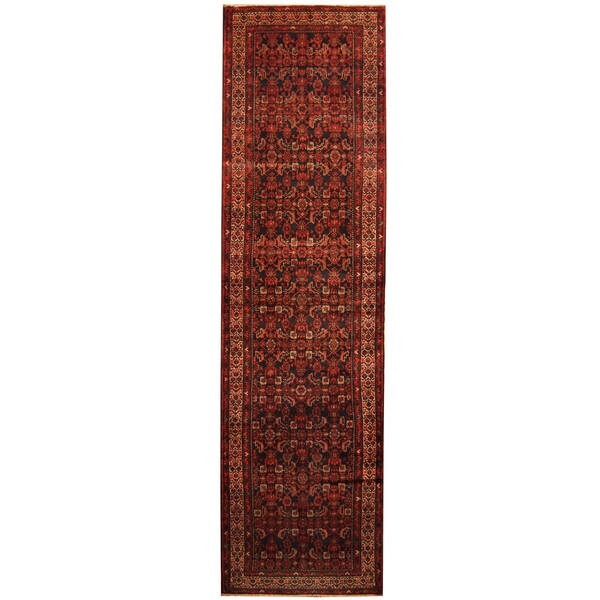 Handmade Herat Oriental Persian Tribal Hamadan Wool Runner - 3'8 x 13'7 (Iran)