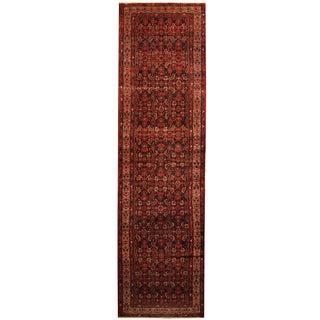 Herat Oriental Persian Hand-knotted Tribal Hamadan Wool Runner (3'8 x 13'7)