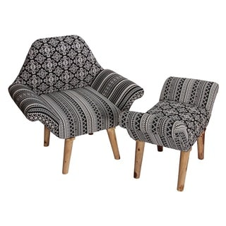 Black and White Chair and Ottoman Set