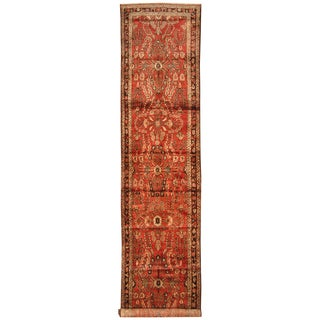Herat Oriental Persian Hand-knotted Tribal Hamadan Wool Runner (3'5 x 15'9)