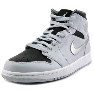 Jordan Men's 'Air Jordan 1 Mid' Grey Leather Athletic Shoes