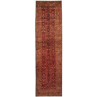 Herat Oriental Persian Hand-knotted Tribal Hamadan Wool Runner (4' x 14'8)
