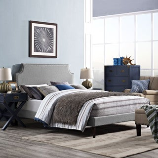 Laura Light Grey Fabric Platform Bed with Squared Tapered Legs
