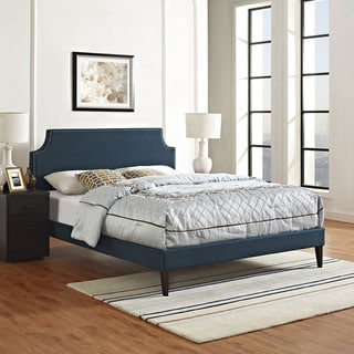 Laura Azure Fabric Platform Bed with Squared Tapered Legs