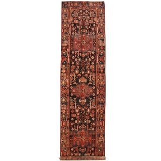 Herat Oriental Persian Hand-knotted Tribal Hamadan Wool Runner (4' x 16')