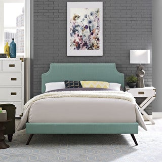 Laura Laguna Fabric Platform Bed with Round Splayed Legs