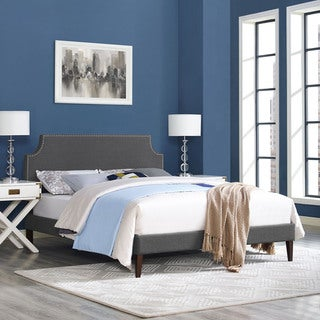 Laura Grey Fabric Platform Bed with Squared Tapered Legs