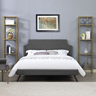 Laura Grey Fabric Platform Bed with Round Splayed Legs