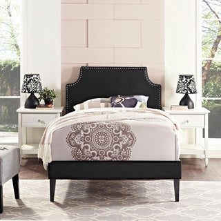 Laura Black Vinyl Platform Bed with Squared Tapered Legs