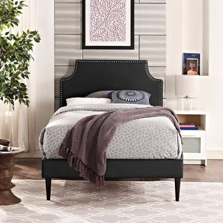 Laura Black Vinyl Platform Bed with Round Tapered Legs