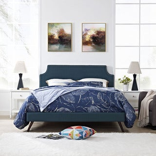 Laura Azure Fabric Platform Bed with Round Splayed Legs
