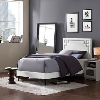 Josie White Vinyl Platform Bed with Round Tapered Legs