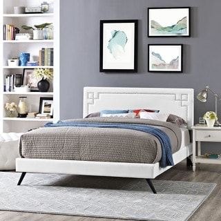 Josie White Vinyl Platform Bed with Round Splayed Legs