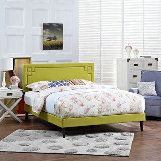 Josie Wheatgrass Fabric Platform Bed with Squared Tapered Legs