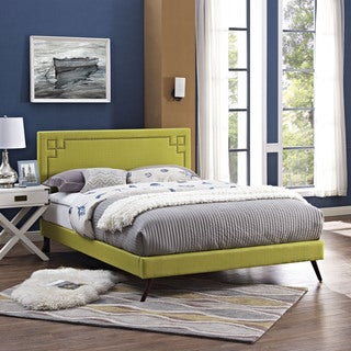 Josie Wheatgrass Fabric Platform Bed with Round Splayed Legs