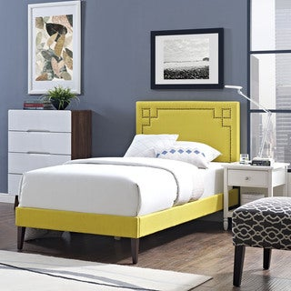 Josie Sunny Fabric Platform Bed with Squared Tapered Legs