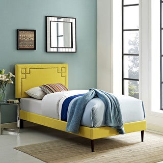 Josie Sunny Fabric Platform Bed with Round Tapered Legs
